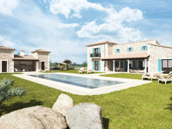 Finca revestida de piedra natural con piscina en construcción en un solar de 15.640 m²